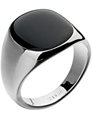 Yoursfs 18k or blanc plaqué Solitaire en Opal noir de Bague chevalière pour Hommes comme cadeau ou pour Noël