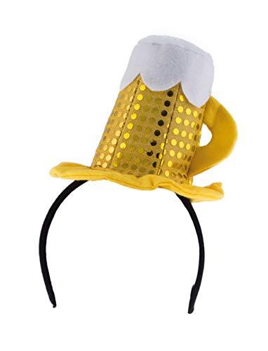 Zubehör Kostüm Bierkrug - Karnevalsbud - Kostüm Accessoires Zubehör Damen Kopfbedeckung mit glänzndem Bierglas Bierkrug, Diadem with Beer Glass, perfekt für Das Oktoberfest Karneval und Fasching, Gold