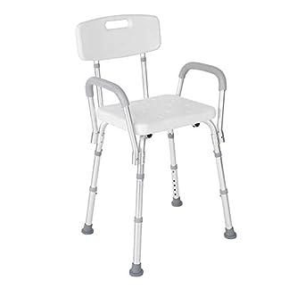 Silla de ducha con respaldo, Taburete de ducha con brazo para el baño, Asiento de baño de altura ajustable para personas mayores con discapacidades