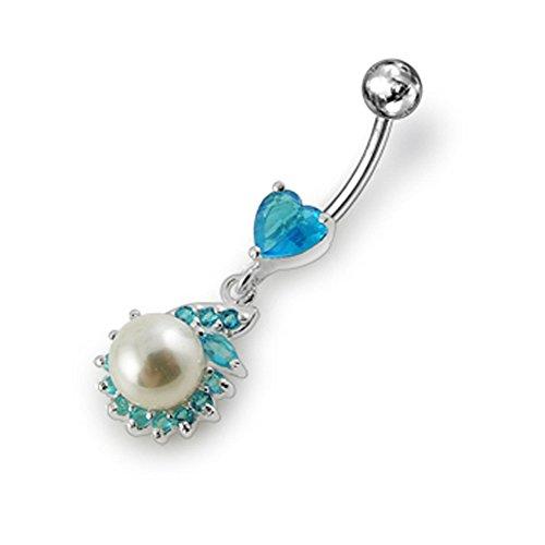 Hellblaue Crystal Stein Trendige Blume mit Perle Design Sterling Silberbarren Bauch Piercing
