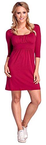 Glamour Empire. Femme. Robe plissée profond décolleté carré S-4XL. 080 Cramoisi