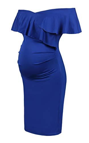 Molliya Mujer Embarazada Largos Vestido,Volante Fruncido Dress Fiesta