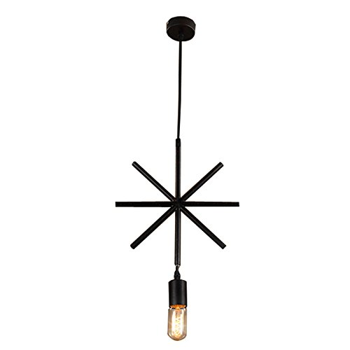 Art Glass Mini-anhänger (hahaemall Mini Edison Anhänger einflammig Industrie Edison Schmiedeeisen Hängeleuchte schwarz Loft Country rustikal)