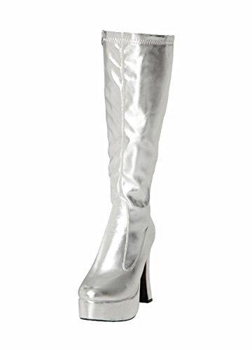 Kostüm Kniehoch Plateau Stiefel 60s 70s Retro Look GoGo-Stiefel - Silbern, (Gogo Kostüme)