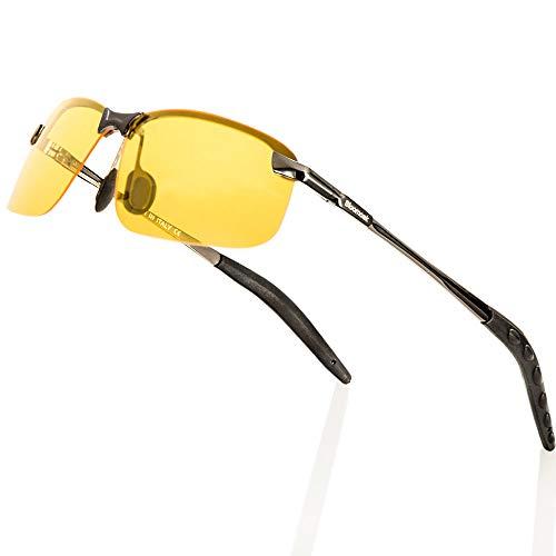 Bloomoak Lunettes de conduite de nuit, vision nocturne HD polarisées pour UV400, protection des yeux, conduite nocturne, golf, pêche, réduction des risques de réverbération ultra légères