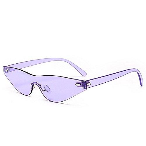 GWF Persönlichkeit Einteilige Stil Kleine Dreieck Katze Augen Perle Sonnenbrille Für Frauen Männer UV Schutz Für Outdoor Driving Vacation Sommer Strand (Farbe : Purple)