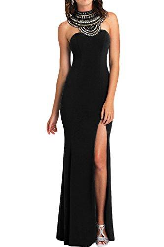 ivyd ressing–Haute Qualité strass fente rueckenfrei mousseline Prom robe Lave-vaisselle robe robe du soir Schwarz