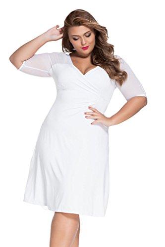 af54588002 Loveours Große Größen V-Ausschnitt Kleid Partykleider Cocktail Midikleid  Weiß ...