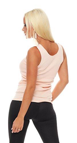 Hochwertiges Damen Träger-Top mit großer Spitze Nr. 416 (Oberteil / Unterhemd / Träger-Shirt) 100% Baumwolle ( Rosa / 56/58 ) - 3