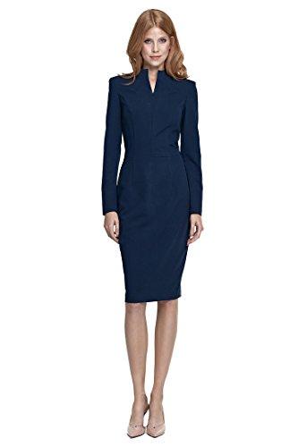 nife – Etuikleid mit langen Ärmeln und Stehkragen und Schlitz Business-Kleid Bleistiftkleid Pencilkleid Abendkleid knielang Dunkelblau