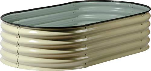 Pflanzbeet Vexko aus verzinktem Stahl, robustes Hochbeet für den Garten, 160 x 80 x 36 cm, weiß