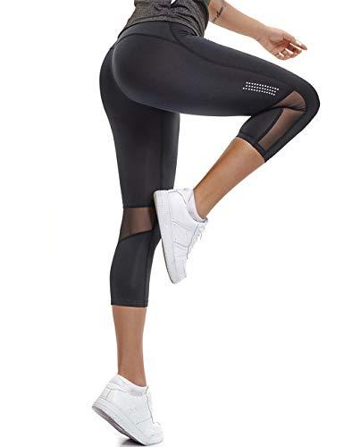 FITTOO Damen 3/4 Sport Mesh Leggings Yogahose Jogginghose Kurz Hohe Taille Training Tights -