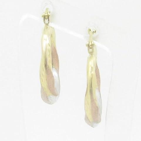 Silvergold Damen 10K gold und 925italienisches Sterling Silber Ohrringe Fancy Kugel Hoop Huggie Ohrstecker Fashion baumeln Swag HE8