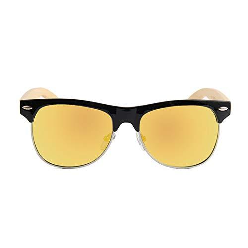 Yiph-Sunglass Sonnenbrillen Mode Niet Dekoration Halbrandlose Polarisierte Bambus Sonnenbrille Für Männer Frauen Spiegel Objektiv UV-Schutz. (Farbe : Gold)
