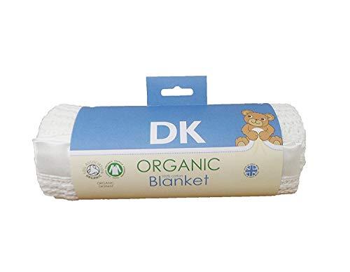 DK Glovesheets Couverture pour landau et berceau en 100 % coton bio certifié GOTS, coloris blanc, bordure satinée