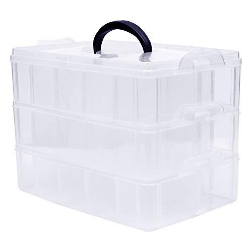 3-stöckige Aufbewahrungsbox aus Transparentem Plastik, Sortierkasten zur Aufbewahrungsbox mit Deckel von Nähzubehör, Bügelperlen, Nagellack, Schraubenbox Aufbewahrung mit Trennwänden - 30 Fächer