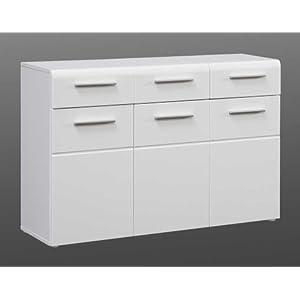 lifestyle4living Kommode mit Fronten in weiß Hochglanz, Korpus in weiß matt, Sideboard mit 3 Türen und 3 Schubladen, hinter jeder Tür 1 Einlegeboden