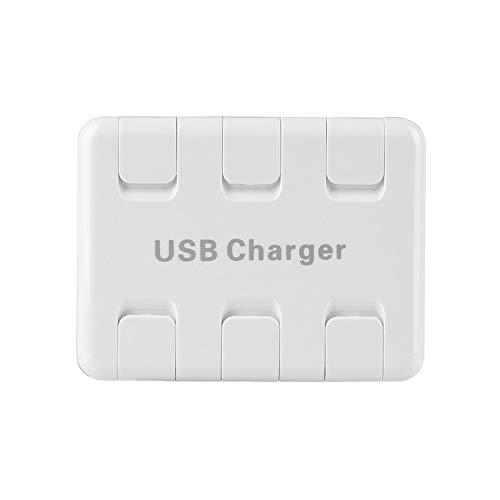CHOULI 6-USB-Port-Ladegerät 8A Flip Smart Fast Charger für Telefone Elektronische Geräte EU-Buchse weiß