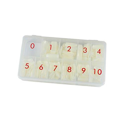 N&BF Classic Nail Tips | Nageltip Sortierbox 500 Stück | Tip Set Natur | Profi Nail Extension flexibel & vielseitig | Made in EU | Kunstnägel in 10 versch. Größen - Natürliche Kurve Tipps