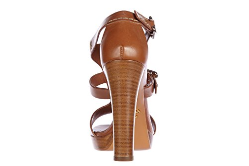 Sandales à plateforme Prada en cuir couleur Cuir - Code modèle: 1XP699 07I F0134 Marron