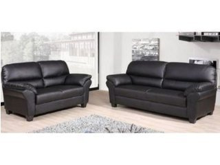 BRAND NEW CANDY 3+2 FAUX LEATHER SOFA SUITE IN BROWN by SOFASANDMORE