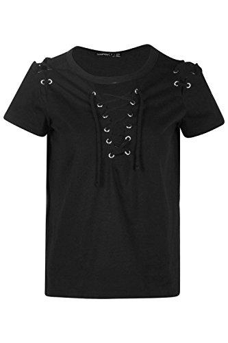 Noir Femmes Petite Demi T-shirt À Col Et Épaules À Lacets Noir