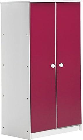 """Design Vicenza """"Avola"""" Zwei Tür Schrank, Holz, Weiß mit Fuchsia Details"""