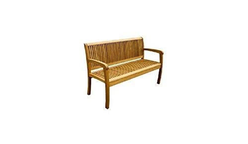 Klassische 2-Sitzer Holz-Bank / Garten-Bank 'Calgary' aus hochwertigem, geölten Robinien-Holz mit Lehnen, im Maß von ca. 120 x 88 cm (Breite x Höhe)