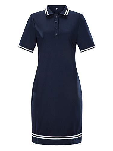 Yieks Damen sportliches Jerseykleid im Polo-Style mit Kurzarm, Dunkelblau 38 (Herstellergröße: L)