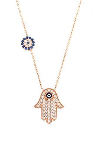 Remi Bijou 925 Sterling Silber - Halskette Fatimas Hand, Türkisches Auge, ColorName:Rosegold