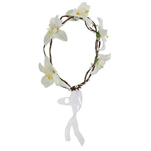 Boho Guirlande de Fleur Bandeau de Cheveux Floral pour Mariée - Blanc