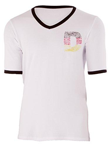 Ultrasport Herren T-Shirt mit V - Ausschnitt, Weiß/Schwarz, XXL, 1308-300
