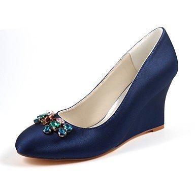 Wuyulunbi@ Scarpe da donna in raso elasticizzato caduta della molla della pompa base di nozze cuneo scarpe tacco punta tonda cristallo per Party & abito da sera blu scuro Blu scuro