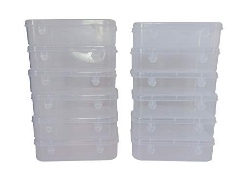 Feliz Clear Plastic Medium Storage Boxes Size 5.25x3.5x1.5 inches (Set of 12)