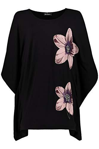 Ulla Popken Damen große Größen bis 68, Jerseykleid, Weite Passform, Blüten-Motiv, echte Stickerei, überschnittene Schultern, Multicolor 54/56 720921 90-54+