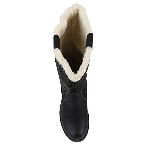 Stiefelparadies Damen Warm Gefütterte Stiefel Winterstiefel Schnallen Kunstfell Winter Boots Damenschuhe Profilsohle Bommel Booties Schuhe Flandell Schwarz Brito