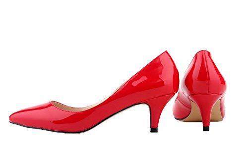 HooH Femmes Kitten Heel Bout pointu Work Robe Escarpins a enfiler Rouge