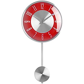 premier housewares pendulum wall clock red