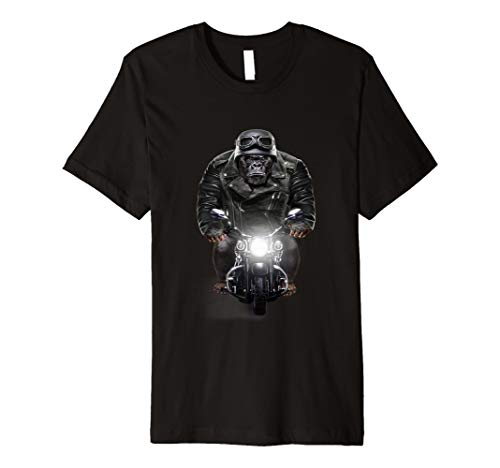 T-Shirt, Gorilla in Leder Biker Jacke Ride Motorrad