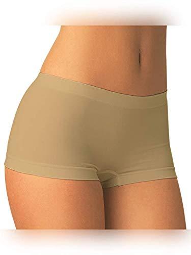 Carin Boxerino Danza Donna Panty Coulotte Pantaloncino Microfibra Set 2 Pezzi (Small/Media (40-44), Nudo)