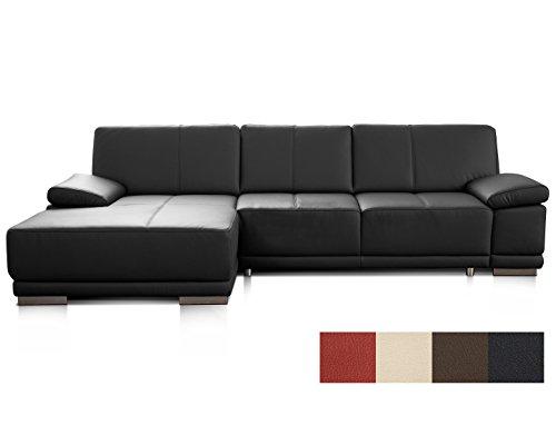 Cavadore Ledersofa Corianne / Lederecke in modernem Design / Inkl. beidseitiger Armteilverstellung und Longchair links / Größe: 282 x 80 x 162 (BxHxT) / Bezug: Echtleder schwarz (Leder Wohnzimmer Sofa)