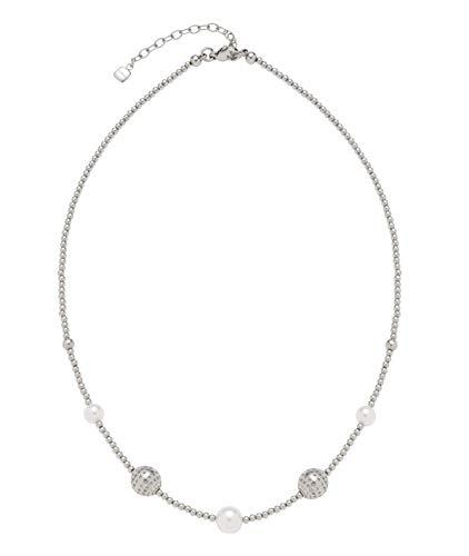 JEWELS BY LEONARDO Damen-Halskette Vaporoso, Edelstahl mit Edelstahlperlen und Imitationsperlen, mit Karabinerverschluss, Länge 400 mm, 016813