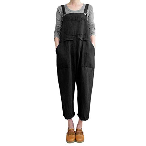 Bobopai Women Sleeveless Dungarees Loose Cotton Linen Long Playsuit Party Jumpsuit S-5XL (Black) -