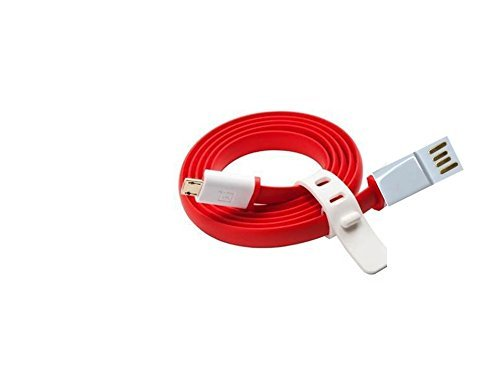 Bhavi Micro USB Flat Wire Data Cable For OnePlus X, Oneplus 1, Oneplus one , OneplusX 1+X (Red & White)