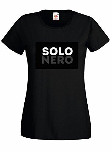 Settantallora - T-shirt Maglietta donna J2156 Solo Nero Black Style Minimal Nero