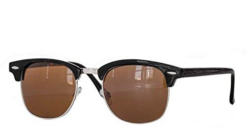 Retro Sonnenbrille Clubmaster clubma Vintage Sonnenbrille (schwarz - braun (Metall silver))