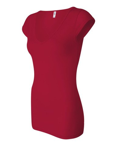 Bella+Canvas: Sheer Mini Rib V-Neck Shirt 8705:00:00, Größe:XL;Farbe:Red -