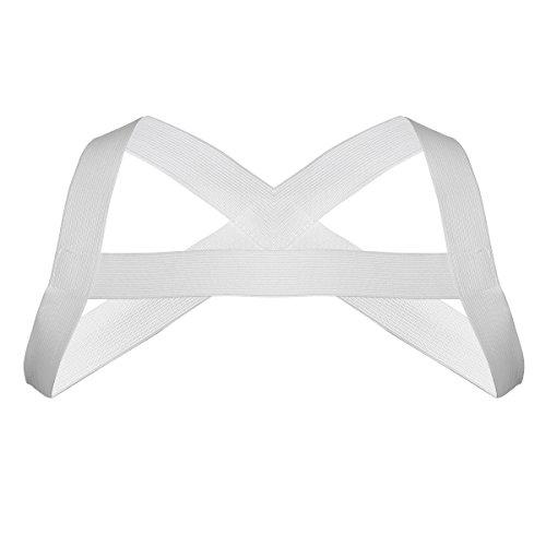 iEFiEL Herren Brustharness Nylon Männer Harness Body Geschirr Männer Unterwäsche Erotik Oberteil Unterwäsche Clubwear Kostüm Weiß One Size (Weiße Stretch Kostüm)