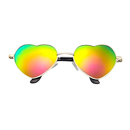 iCerber UV400 Cosplay Mens Womens Metallrahmen Damen Herzform Sonnenbrille Lolita Love