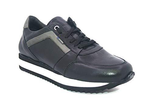 Exton 558 nero scarpe uomo sneaker running pelle made in italy